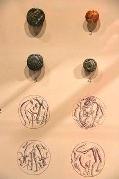 1. Seal (lapis lacedaemonius) found in Psychro Cave with Minotaur figure 1450 –1375 B.C.    2. Seal (agate) found in Athens region depicting hybrid creatures 1450 -1375 B.C.    3. Seal (haematite) found in Milatos, east Crete 1450 -1375 B.C.    4. Seal (serpentine) found in Mallia, Crete with a half-man, half-goat figure 1450- 1375 B.C.