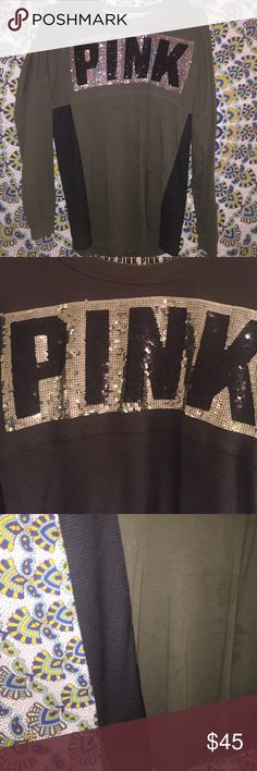 PINK bling pullover no flaws, worn once or twice :) xs but is big:) could prob fit up to a L or M PINK Victoria's Secret Tops Sweatshirts & Hoodies