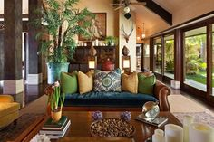 If you want to dive in this type of home interior, then take a close look at my collection of Modern Asian Home Decor Ideas That Will Amaze You. Bali Stil, Bel Air House, Interior Tropical, Mexican Interior Design, Balinese Decor, Indonesian Decor, Bel Air Mansion, British Colonial Style, Modern Asian