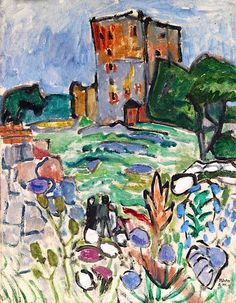 Landschaft mit Turm, 1919. Gabriele Münter was a German expressionist painter who was at the forefront of the Munich avant-garde in the early 20th century.