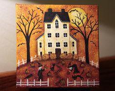 Original Halloween Folk Art Hand Painted Mini Canvas by Ravensbend, $24.00