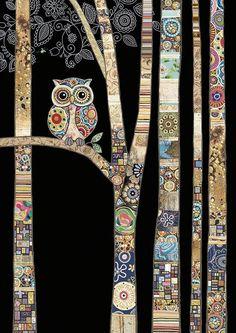 Bug Art - Owl Birch - designed by Jane Crowther Art Du Collage, Tableau Pop Art, Art Fantaisiste, Art Uk, Bug Art, Animal Quilts, Owl Quilts, Art Textile, Landscape Quilts
