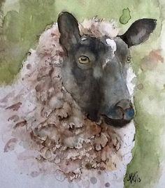 """Artist: Marie-Helene Stokkink; Watercolor 2013 Painting """"wintersheep"""""""