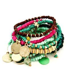 I love this charmed beaded bracelet set