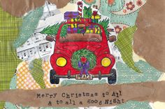Merry Christmas! Holiday Christmas Card - Red VW Volkswagen Beetle Bug Holiday Card - Merry Christmas to All