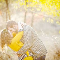 A romantic autumn engagement shoot with yellow & plaid. This would work well in Calgary since yellow is the most prevalent fall color.