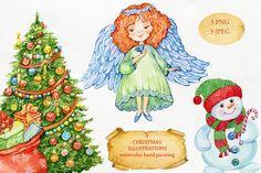 Set Chistmas watercolor angel by MitrushovaArt on @creativemarket