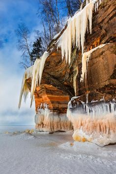Landscape of an ice cave, Grand Island National Recreation Area, Lake Superior, Michigan's Upper Peninsula, USA