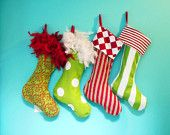 CHRISTMAS STOCKINGS, PERSONALIZED Matching Family Holiday Stockings, Bright Whimsical Fun. $55.00, via Etsy.