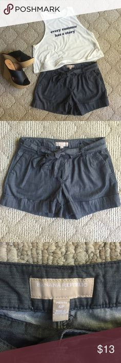 "Banana Republic cotton blue ""denim"" shorts Banana Republic size 6P. Front Bow Tie 4in inseam.  Dress it up. Keep it casual. These shorts can do anything✨ Banana Republic Shorts"