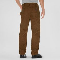 Dickies Men's Big & Tall Relaxed Straight Fit Sanded Duck Canvas Carpenter Jean- Timber 32x36