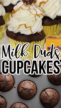 Milk Duds remind me of fun times going to the movies with my husband. Since we rarely get a baby sitter, we haven't been able to see a ton of movies in the theater. To bring the movies home for a fun staying in date night, I made Milk Dud Cupcakes. They are chocolate cupcakes with milk dud candy and frosting with caramel drizzle perfect for movie night or birthday party! Easy Cupcake Recipes, Cookie Recipes, Dessert Recipes, Yummy Recipes, Sweet Desserts, Delicious Desserts, Yummy Food, Milk Duds, Peanut Butter Cookie Recipe