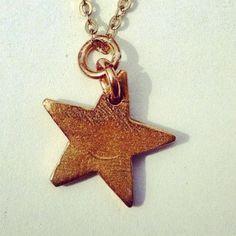 Tiny Bronze Star Necklace