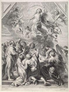 Hans Witdoeck   Hemelvaart van Maria, Hans Witdoeck, Spaanse kroon, 1639   Maria wordt door engelen op de wolken meegevoerd naar de hemel. Twee van hen hebben respectievelijk een bloemenkrans en een palmtak in de hand. Rondom het graf van Maria de verzamelde apostelen die voor haar ziel bidden. Ze kijken vol verbazing omhoog. Met een lege marge.