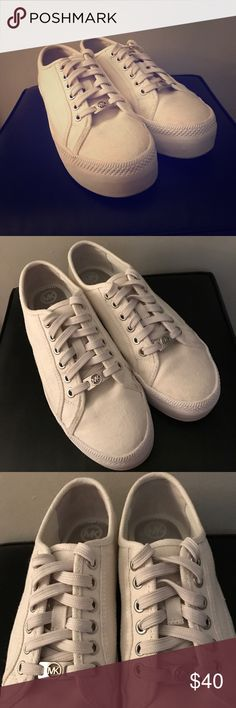 ❤ Michael Kors Tennis Shoes! EUC!!! ❤ Michael Kors Tennis Shoes / sneakers in women's size 8. They are off-white canvas. So cute! Worn 3 or 4 times...excellent condition! I'd be happy to answer any questions. Thanks! Michael Kors Shoes Sneakers