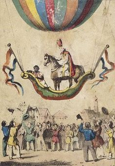 Christine Sterne loves balloons too. This is a 1850 picture of our Dutch Sinterklaas, landing with his horse and Pieterbaas