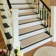 Harrison Weave Washable Stair Treads-Set of 4 Weave Washable Stair Treads will help protect your wood flooring while providing more secure footing for you and your pets. These slip-resistant rugs are made of machine washable cotton. Painted Stairs, Wood Stairs, House Stairs, Basement Stairs, Basement Office, House Doors, Rugs For Stairs, Stairs In Homes, Wood Stair Treads