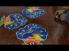 beautiful peacocks kolam Easy chukkala muggulu Sankarthi special rangoli Thanks for watching 🙏🙏 Please like share. Easy Rangoli Patterns, Easy Rangoli Designs Diwali, Rangoli Designs Latest, Simple Rangoli Designs Images, Rangoli Colours, Rangoli Designs Flower, Free Hand Rangoli Design, Small Rangoli Design, Rangoli Border Designs