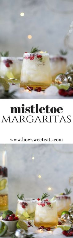 This christmas margarita (or mistletoe margarita!) is the perfect cocktail to serve around the holidays and super festive with cranberry juice and orange! Party Drinks, Cocktail Drinks, Fun Drinks, Yummy Drinks, Cocktail Recipes, Alcoholic Drinks, Beverages, Liquor Drinks, Refreshing Cocktails