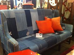 Design Legacy - The Paul Sofa. This couch is not only on trend with Spring 13 Fashions in Denim... it is also made out of denim collected from Goodwill! 126 Virginia Place. #hpmkt