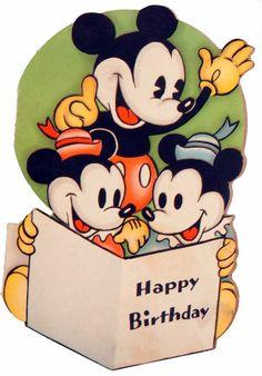 Mickey, Morty an' Ferdie wish you a happy birthday. Happy Birthday Disney, Happy Birthday Vintage, Belated Birthday Card, Birthday Songs, Singing Happy Birthday, Happy Birthday Images, Mickey Mouse Birthday, 1st Birthday Girls, Happy Birthday Cards