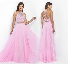 2016 Two Pieces O Neck Sleeveless Criss-cross Back A Line Beaded Sequins Chiffon Prom Dress,2 piece Graduation Dress,2 piece Evening Dress,Lovely Prom Dress,