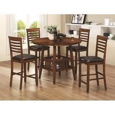 Knoxville 5 Piece Counter Height Round Table & Stool Set in Oak Finish (NEW) #Coaster #Cottage