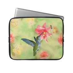 Hummingbird and Pink Lily on Floral Pattern Laptop Sleeve
