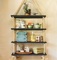 diy shelves DIY Rope Shelves - longer and wider apart would be great for herbs in the kitchen Diy Hanging Shelves, Rope Shelves, Hanging Rope, Suspended Shelves, Glass Shelves, Floating Shelves, White Shelves, Wall Shelves, Beach House Decor