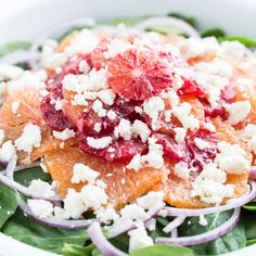 Citrus Spinach Salad with Feta Cheese and Blood Orange Vinaigrette!