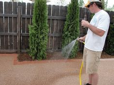 """How to make a pea gravel patio! AKA """"trail mix"""" patio - once you water it down, it dries hard and flat! Large space can be done for about $200"""
