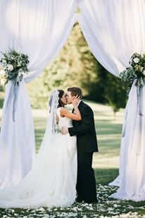 Draped Alter Canopy.  #flowy #flowing #sheer #alter #wedding #ceremony #draping #IDo  #Country #chic #outdoorwedding ~Draping by Events Plus Nashville