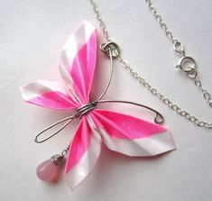 Pink Paper Butterfly Necklace - Durable Origami Jewelry. $20.00, via Etsy.