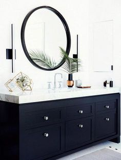 Modern bathroom inspiration with marble, round mirrors and black and white – Ch… – Marble Bathroom Dreams White Vanity Bathroom, Modern Bathroom, Small Bathroom, Bathroom Black, Black Vanity, Bathroom Vanities, Bathroom Marble, Black Bath, Bathroom Closet