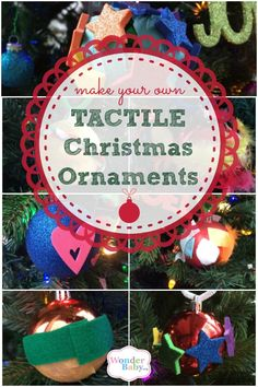 Here's a simple idea that can make the ornaments on your Christmas tree more accessible while also bringing the family together for a fun holiday activity! We like to do this every year as part of our Christmas Eve tradition. Our tree is up and decorated with tactile ornaments from years past, but now it's time to create a few more to add to our collection! This is the perfect Christmas craft for blind children! Enjoyed by www.mygrowingtraditions.com