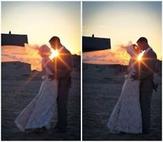 The married couple at sunset for an outdoor wedding. #celebstylewed #weddings #nuptials #matrimony