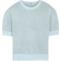 Miu Miu Cropped angora and wool-blend sweater ($245) ❤ liked on Polyvore featuring tops, sweaters, sky blue, slim fit sweater, blue crop top, slimming tops, crop top and miu miu sweater