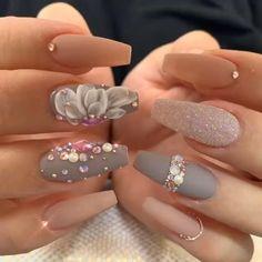 Elegant Nail Designs, Elegant Nails, Stylish Nails, Elegant Bridal Nails, Best Acrylic Nails, Acrylic Nail Designs, Nail Art Designs, Nails Design, Glitter Nail Designs