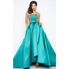 Mac Duggal 62590 Prom Dress 2017 Long Strapless Sleeveless ($698) ❤ liked on Polyvore featuring dresses, gowns, formal dresses, teal, blue formal dresses, teal prom dresses, long evening gowns, long prom gowns and high low prom dresses