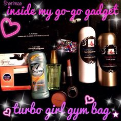Packing for #MTAC2013 & thought to share some of my faves inside my go-go gadget Turbo girl mini gym bag :) MAC waterproof eyeliner & pencil (say no to raccoon eyes!) #TheTanGirlz Tan extender & quick tan! Slip-proof hair ties, MAC nude lipstick, Degree Motion Sense Fresh Energy deodorant/antiperspirant, Kerastase Elixer Kultime (light hair serum from Carlton Hair Salon), Bling bracelet (Michael's), MAC blush! My favees & quick lifesavers!  What's in Your Gogo-gadget?  #turbogir...