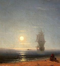 """Lunar Night"" (detail), 1857, Ivan Aivazovsky."