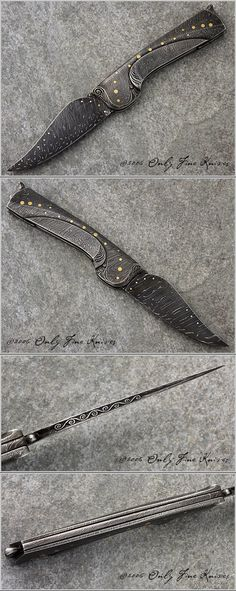 Robert Weinstock Art Folder. Complete Mosaic Damascus piece with 14K Gold Dots and Carving throughout. Over All Length 7 1/2 in Blade Length 3 1/4 in Blade Material Mosaic Damascus Frame Material - Mosaic Damascus Weight 5.2 oz