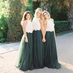 Popular Lace Bodice Green Tulle Skirt A Line Custom Bridesmaid Dresses 050b6f7078cd