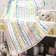 ❤❤❤ GOODY GUMDROPS AFGHAN ❤❤❤ Love this fun-striped cluster design pattern - Possible scrap yarn crochet project - Intermediate ~ Crochet Baby Blanket / Afghan