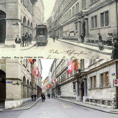 Rue de l'Hôtel-de-Ville : le tramway de la Cité  1904 -> 2016 Carte postale ancienne : communesgenevoises.ch  #genève #geneve #geneva #rephotography Tramway, Rue, Street View, Instagram Posts, Cities, Switzerland