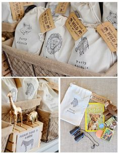 PARTY ANIMALS Muslin Favor Bags - Set of 10 - Jungle Safari, Safari Animals, Wild Animals by 1PixiePlace on Etsy https://www.etsy.com/listing/291190595/party-animals-muslin-favor-bags-set-of