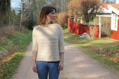Cute and easy sweater for beginners - i would drop the stripes and change the main color though