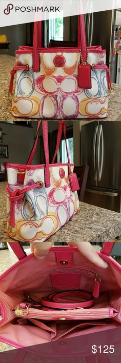 Coach Scribble handbag Coach small shoulder/tote bag in Scribble pattern! Beautiful colord and cute details! Organization is easy with all the pockets inside! Crossbody strap included!  Price is firm Coach Bags Satchels