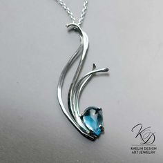 Flowing Waters Blue Topaz and Silver Indie Designer Pendant by Kaelin Design