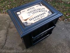 FUN TABLE GAMEBOARD I have an easy game board table for a Ouija Board. This is a custom order for a friend. Using and old table and your favorite game board you can create this fabulous table for yourself
